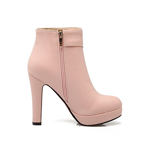 Low AmoonyFashion Closed Pink Womens Round Boots Toe Heels PU Top Zipper High RqR4awB8x