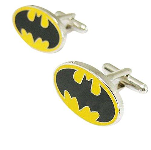 Yellow and Black Batman Logo Cufflinks for Men - Superhero Collection (Batman Logo Cufflinks)