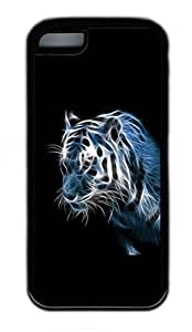 iPhone 5C Case, Personalized Protective Rubber Soft TPU Black Edge Case for iphone 5C - Thin Tiger Cover