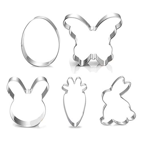 5 Piece Easter Cookie Cutter Set - Egg, Easter Bunny, Bunny Face, Butterfly, Carrot Shapes for Easter Party Baking, Cake Decoration