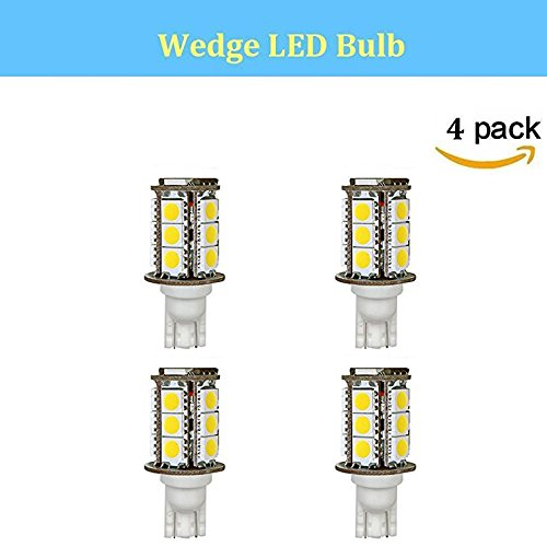 Makergroup T5 T10 Wedge Base LED Light Bulbs High Brightness 12VAC/DC 3Watt Cool White 6000K for Outdoor Landscape Lighting Deck Stair Step Path Lights and Automotive RV Travel Tailer Lights 4-Pack by Makergroup