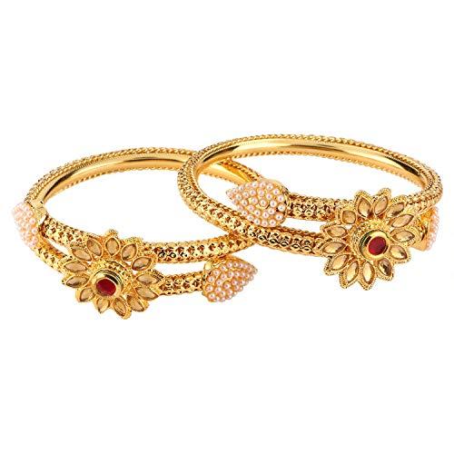 Efulgenz Fashion Jewelry Indian Bollywood 14 K Gold Plated Faux Pearl Kundan Rhinestone Floral Bracelet Bangle (2 Pc)