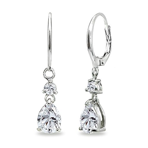 Sterling Silver Cubic Zirconia 8x6mm Teardrop Dangle Leverback Earrings