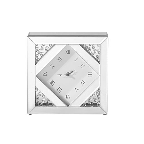 - Decor Central ADMIR-27354 Crystal Square Table Clock, 10