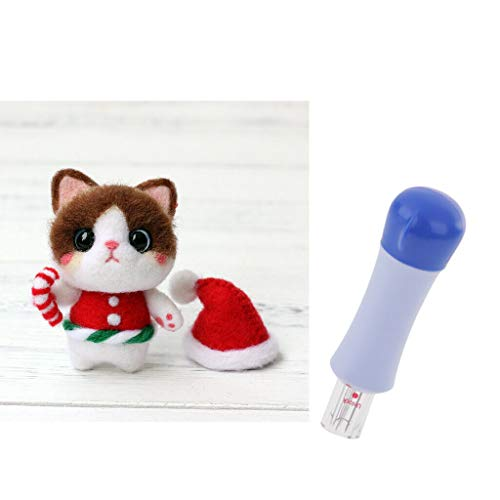 (Christmas Cat Wool Felt Kit with Punch Needles for Room Ornament Decor)