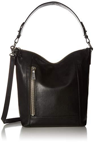 FRYE Lena Zip Leather Hobo Shoulder Bag, black