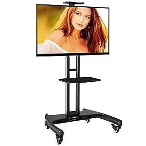 Pied à roulettes réglable pour TV LCD/LED/Plasma 81 cm -165 cm (32″ – 65″) jusqu'à 45,5 kg – Ergosolid AVA Noir