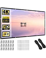 Projector Screen 150 inch 16:9 HD Foldable Anti-Crease Portable Projection Movies Screen for Home Theater Outdoor Indoor Support Double Sided Projection