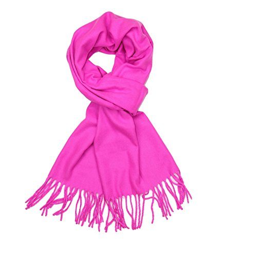 Plain Solid Color Cashmere Feel Classic Soft Luxurious Winter Scarf For Men Women (Hot (Hot Pink Scarf)