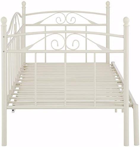 Loft24 Florenz Metallbett 90x200 cm Tagesbett ausziehbar auf 180x200 cm Ausziehbett Kinderbett Bettgestell Metall G/ästebett Couchbett wei/ß