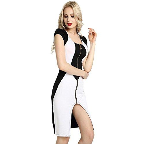 Women's Zipper Dresses Black White Night Club Party Evening Slim Mid Skirt S-XXL , white , xl from GJX