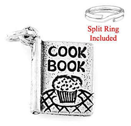 (Sterling Silver Recipe Cook Book Charm W/Split Ring Charms,Pendant and Bracelet by Easy to be happy)