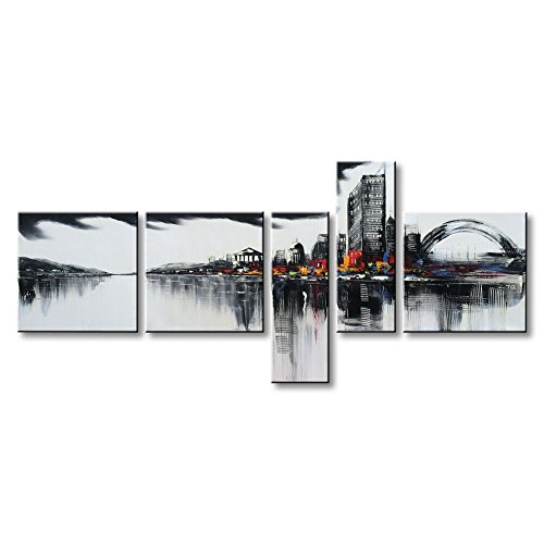 Winpeak Art Huge Modern Contemporary Cityscape Artwork Hand Painted House Abstract Landscape Stretched and Framed Oil Paintings on Large Canvas Wall Art Décor for Living Room Decoration 84''W x 40''H by Winpeak Art