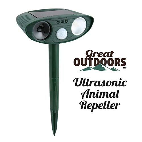 Great Outdoors Ultrasonic Animal Repeller - Eco-Friendly and Waterproof Solar Repellent with Sound Control - Sonic Deterrent for Bird Deer Cat Dog Squirrel Raccoon Rabbit Fox - Garden Protection
