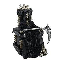 Pálido rests Grim Reaper de muerte en hueso Trono Holding Scythe Estatua