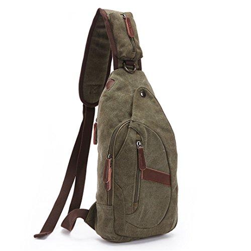 Wewod Shoulder Outdoor Travel Bag Canvas Casual Multi-function Men Backpack Bag Body Chest Cross Bags Satchel Bag 19 X 38 X 8 Cm (l * H * W) Green