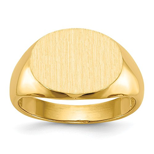 - 14k Yellow Gold Mens Signet Band Ring Size 10.00 Man Fine Jewelry Gift For Dad Mens For Him