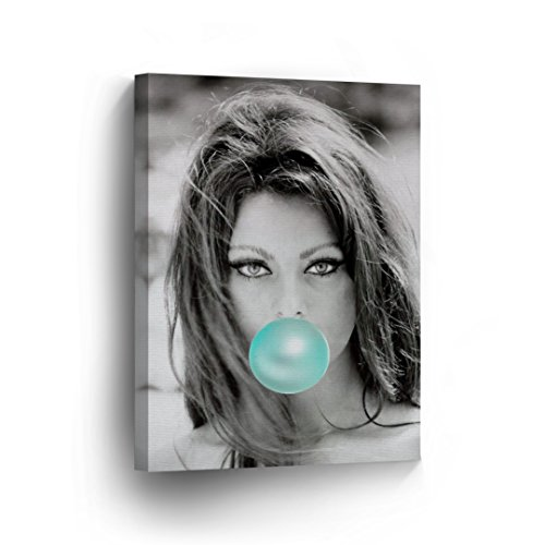 SmileArtDesign Sophia Loren Teal Blue Bubble Gum Chewing Gum Wall Art Canvas Print Sexy Icon Pop Art Home Decor Artwork Gallery Stretched and Ready to Hang -%100 Handmade in The USA - 12x8