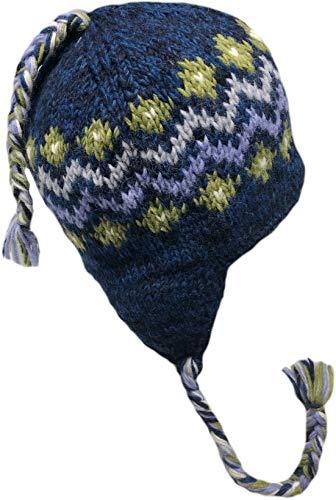 (Nepal Hand Knit Sherpa Hat with Ear Flaps, Trapper Ski Heavy Wool Fleeced Lined Cap (Blue Zig Zag))
