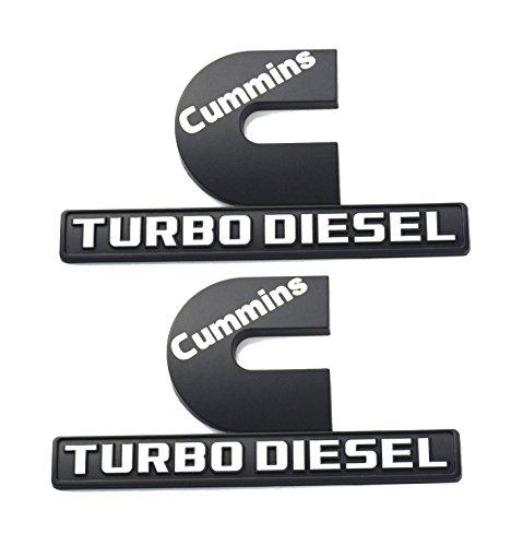2 Pack Cummins Turbo Diesel Emblems, Badges High Output Nameplate Replacement Sticker for RAM 2500 3500 Fender Emblem Mopar (black - Emblem White