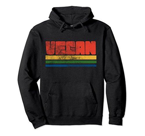 Unisex Vintage style Vegan pullover hoodies retro veganism hoodie Medium Black