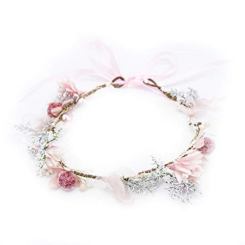 Gifts Big Flower Headband Woman Real Flower Crown Party Pink Floral Wreath Wedding