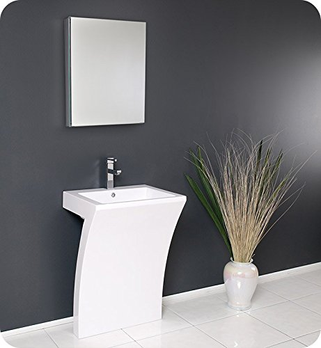 (Fresca Bath FVN5024WH Quadro Pedestal Vanity Sink with Medicine Cabinet, White)