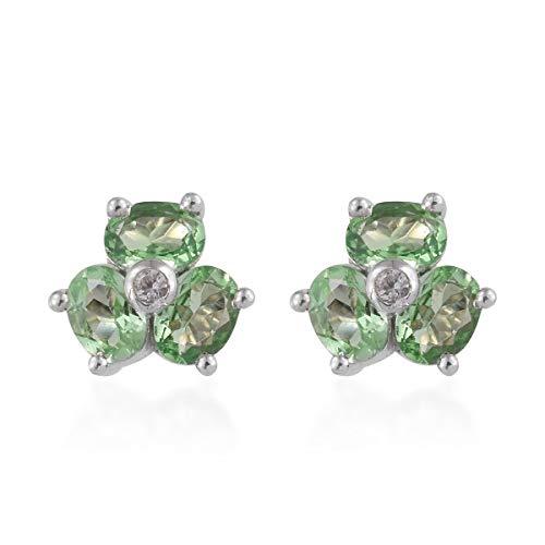 925 Sterling Silver Platinum Plated Mint Garnet Zircon Stud Solitaire Earrings for Women Jewelry Cttw -
