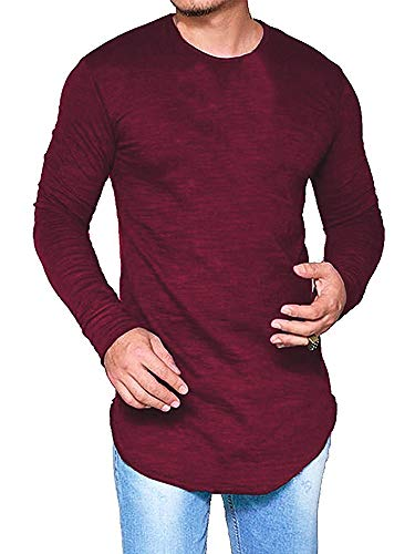 Makkrom Mens Slim Fit Solid Long Sleeve Basic T Shirt Pullover Tunic Tops