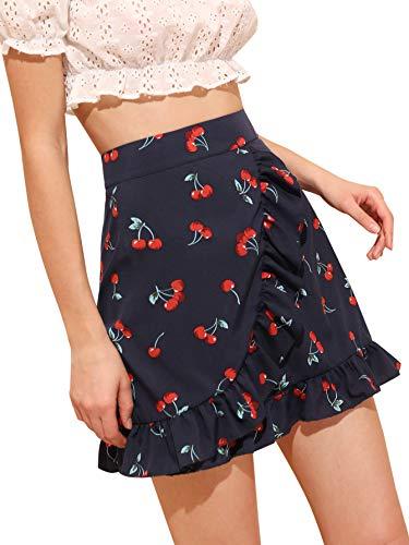 - WDIRARA Women's Elegant Mid Waist Above Knee Ruffle Hem Casual Floral Skirt Navy S