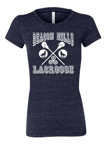 Large Navy Blue Womens Beacon Hills Lacrosse Tri-Blend T-shirt