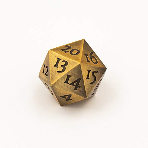 Extra Large Solid Metal Gold D20 Countdown Dice 20 face Count Down Counter 20 faced Golden Extra -