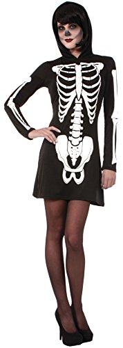 Forum Novelties Women's Skeleton Hooded Mini Dress, Multi, (Halloween Costumes Skeleton Dress)