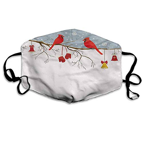- Cardinal Fashion Mouth Mask Christmas Illustration for Cycling Camping Travel W4
