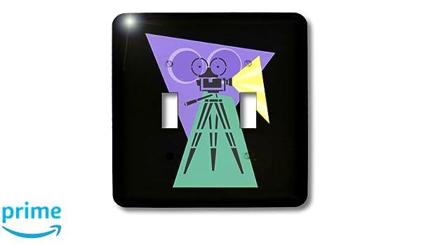 3dRose lsp/_38376/_2 Retro Movie Camera Double Toggle Switch
