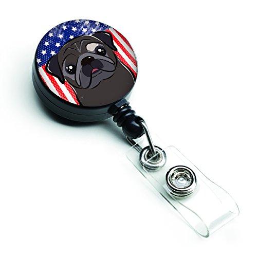 Caroline's Treasures American Flag and Black Pug Retractable Badge Reel, Multicolor (BB2193BR)