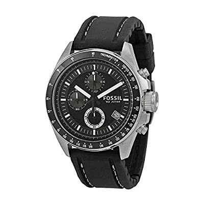 Fossil Men's CH2573 Black silicon Strap Black Analog Dial Chronograph Watch
