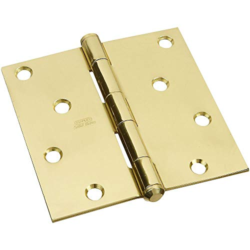 Solid Brass Hinge Square Corners - National Hardware N195-693 V513 Square Corner Solid Brass Door Hinge 4 Inch Bright Brass Single Pack
