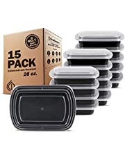 Freshware Meal Prep Containers [15 Pack] 1 Compartment Food Storage Containers with Lids, Bento Box, BPA Free, Stackable, Microwave/Dishwasher/Freezer Safe (28 oz)