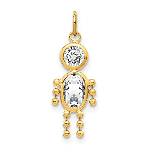 14k Yellow Gold April Boy Birthstone Pendant Charm Necklace Kid Fine Jewelry For Women Gift Set ()