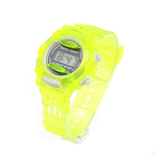 Shensee Green Special Design Boys Girls Children Students Waterproof Digital Wrist Sport Watch