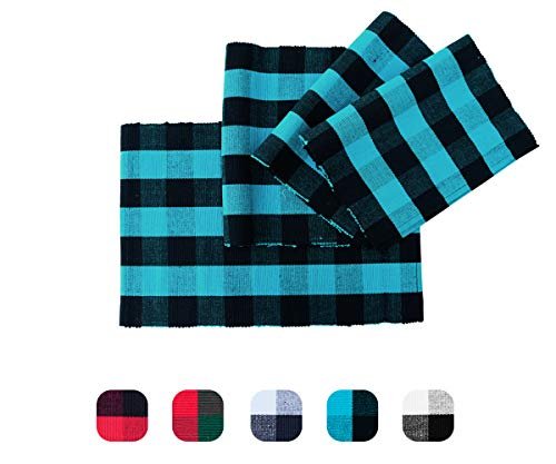 Buffalo Checked Placemats - Cotton Placemats Navy - Buffalo Plaid Placemats - Checkered Placemat - Plaid placemats Blue - Cloth Placemats for Kitchen Table Set of 4 ((13 x 18), (Blue and Black))