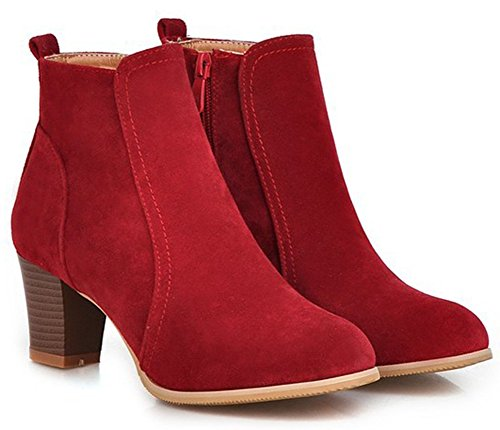 Toe Summerwhisper Short Heel Dressy Mid Block Women's Shoes Fuax Ankle Red Booties Side Zipper Stacked Suede Boots Round wHqXSBH