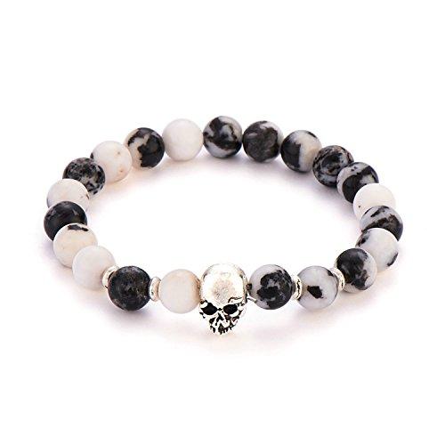 Plated Unisex Bracelets - POSHFEEL Silver Plated Skull 8mm Gem-stone Stretch Bracelet Round Gem Semi Precious Beads Unisex, 7.5