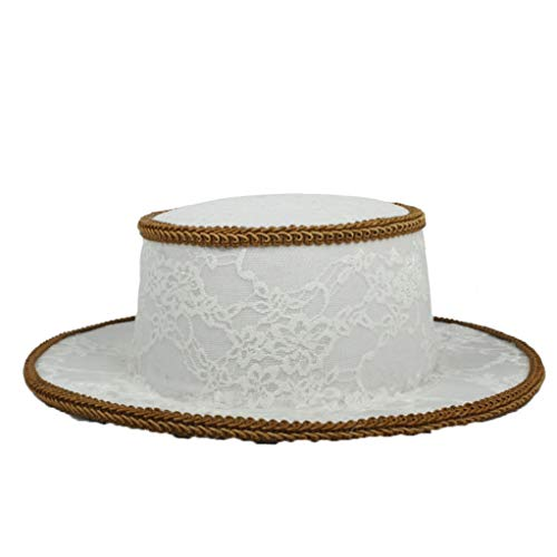 (Women's White Wool Felt Fedora Hats Flat Pork Pie Hat Wide Brim Bowler Jazz Cap)