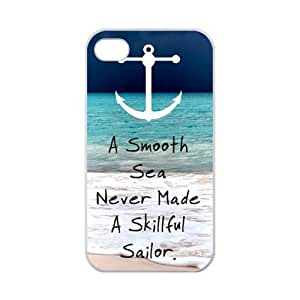THYde Novelty Anchor Quotes A Smooth Sea, Never Made a Skillful Sailor iPhone 6 4.7 Case Cover TPU Laser Technology Rubber Sides Shell ending