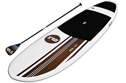 ISLE Versa Epoxy 10'5 Standup Paddle Board (4.5' Thick) SUP Package | Includes Adjustable Paddle Carbon Shaft Nylon Blade, Carry Handle, Center Fin