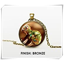 CHAMELEON handmade necklace with colorful pendant,bronze silver black pendant animal print illustration