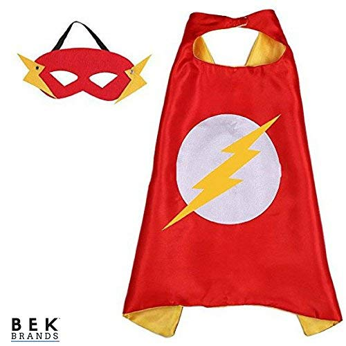 Bek Brands Flash Superhero Cape and Mask Set | Dress up Satin Cape and Felt Mask, Costume for Kids Party -