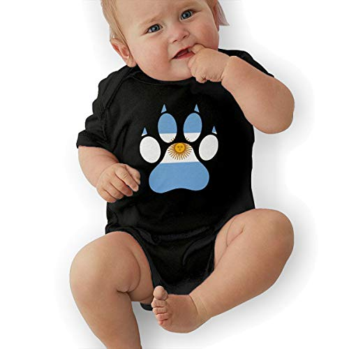 Short Sleeve Cotton Rompers for Unisex Baby, Soft Argentina Flag Dog Paw Crawler Black ()